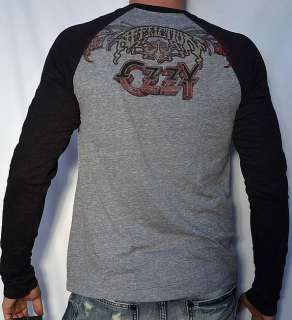 Affliction OZZY OSBOURNE VINTAGE Mens Long Sleeve Raglan Tee Shirt