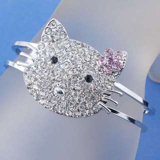 Clear Crystal Kitty Cat Face Hinged Bracelet Bangle 1PC