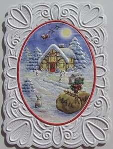 Carol Wilson Christmas Card Santa In Sleigh Christmas Eve Glitter