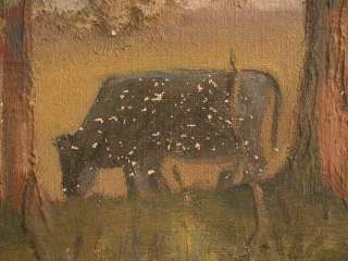 Impressionist Oil Painting Cows Grazing Trees Meadow Leo C Terrence