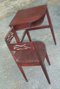 Deco Mahogany HINGED Telephone Table Hidden Chair Gossip Bench