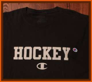 Champion Sportswear Authentic Bold Hockey Emblem NHL NCAA Black 2XL T
