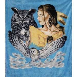 Indian Maden w/Owl Queen Mink Style Blankets 79x95