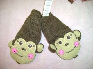 NWT TCP childrens place monkey gloves lnd mittens 4 6 5
