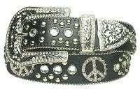Crystal Rhinestone Studded Peace Black Leather Belt
