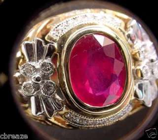 BLOOD RED NATURAL RUBY & DIAMONDS NEW 18K GOLD RING