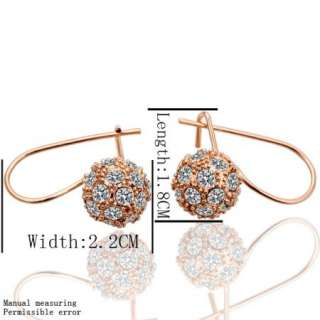 18K Gold Swarovski Crystal GP Cutie Ball Earring Set 001