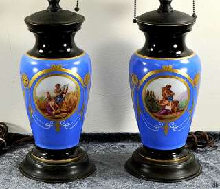 Pair Antique Blue Paris Porcelain Vase Lamps Harvest