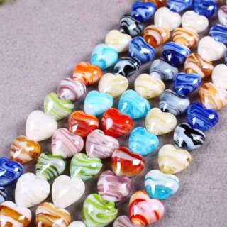 Lampwork Glass Loose Bead Finding Strips Oval Coin Ball Love Heart