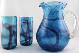 Murano Italian Art Glass Blue / Purple Pitcher w/Matching Glasses