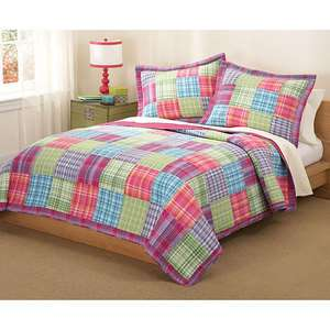 PINK PURPLE BLUE QUILT SET PLAID GIRL NEW   TWIN OR FULL QUEEN SIZE