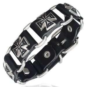 Leather Double Maltese Cross Stud Belt Buckle Unisex Bracelet Jewelry