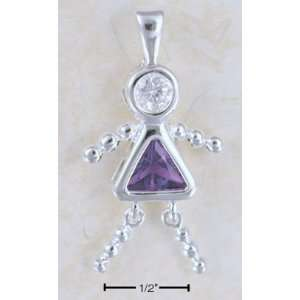 Sterling Silver Birthstone Bead Girl Charm Pendant Jewelry
