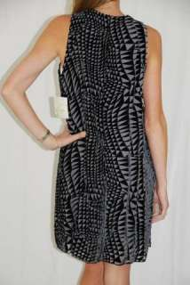 BRAND NAME Bondi Silk Velvet Black/Grey Shift Dress L