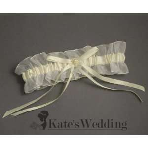 Wedding Garter Sheer Lace Ivory Satin with Ribbon and Pearl Accents