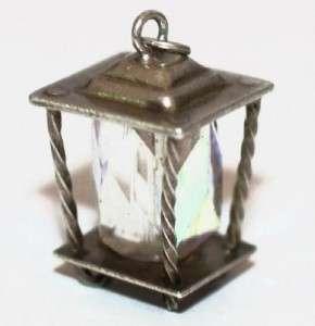 Sterling Silver LAMP LIGHT LANTERN Charm ~AURORA BOREALIS CRYSTAL SET