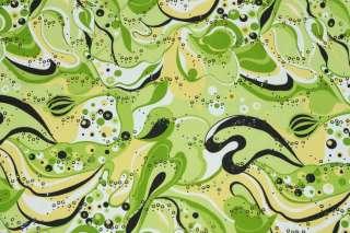 LYCRA SPANDEX RETRO PRINT LIME GREEN BEIGE BLACK WESTERN SHIRT FABRIC