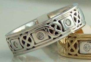 14K White Gold Irish Celtic Knot Diamond Wedding Ring SIZE SHANORE