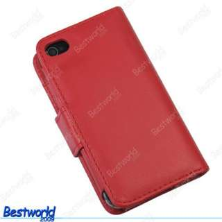 Red Wallet Flip Leather Case Cover For APPLE iPhone 4