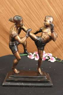 Thai Kick Boxer Bronze Sculpture Figurine Sport Statue Art Figure