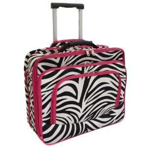 Vogue Fashion Ladies Rolling Laptop Computer Briefcase   Pink Zebra