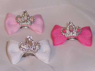 CLEAR CRYSTAL CROWN DOG BOW  BARRETTE OR BAND OR CLIP