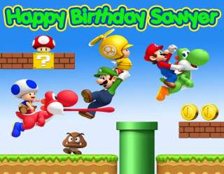 Custom SUPER MARIO BROS LUIGI Edible Image Cake Topper Cake Sticker