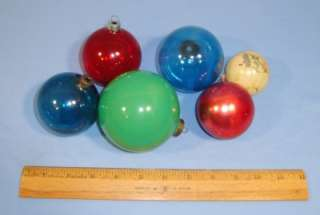 Vintage 1930s Glass Christmas Tree Ornaments X 6