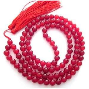 8mm 108 Red Agate Beads Buddhist Prayer Japa Mala Necklace