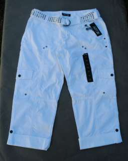 NWT $44 Apt 9 Poplin Convertible Cargo Capri Pants w/Studded Belt Sz