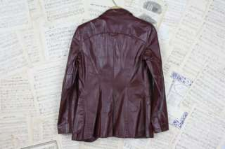 80s ♥ Etienne Aigner ♥ Brown Leather Gold Logo Jacket Coat 6 S
