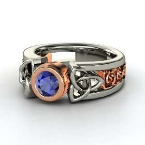 Celtic Sun Ring, Round Sapphire Sterling Silver Ring Jewelry