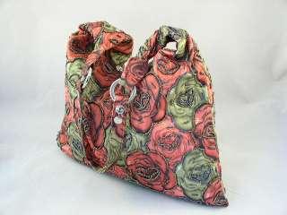 Red & Olive Green Beaded Flowers Bag Hobo Shopping HL 9327