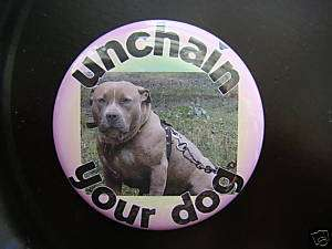Dont CHAIN DOGS button RESCUE magnet PIT BULL badge