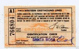 1960 Greyhound Bus Lines Ticket Santa Rosa to Portland