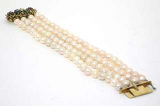 MULTI STRAND PEARLS, DIAMONDS GEMS 14K VINTAGE BRACELET