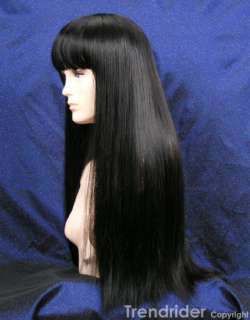 Black extra long wig full bangs SALT Angelina Jolie