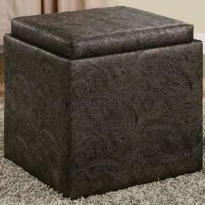Lift top storage ottoman in a Paisley embossed design