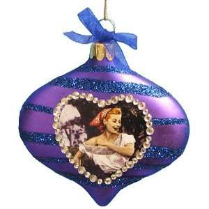 I Love Lucy Grape Stomping Glass Disc Christmas Ornament