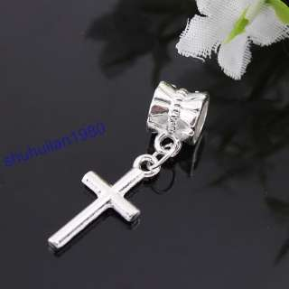 50X Uesful Silver Plated Cross Charm Beads Fit Bracelet