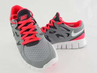 NIKE WOMENS FREE RUN+ 2 STEAL GREY WHITE RED 443816 016 on PopScreen e1297f926