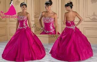 Fuchsia Ball Gown Wedding Party Prom Quinceanera Dress Debutante