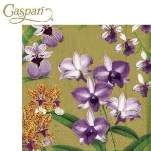 Caspari Paper Napkins 10570C Orchid Show Gold Cocktail Napkins