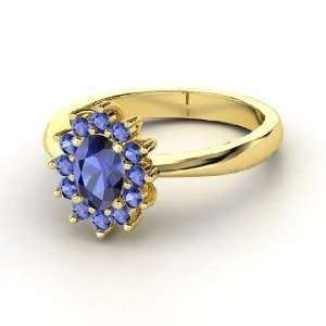 Aunt Stars Ring, Oval Sapphire 14K Yellow Gold Ring Jewelry