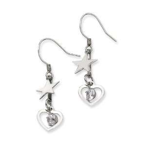 Chisel Stainless Steel Heart & Stars with CZ Stone Dangle
