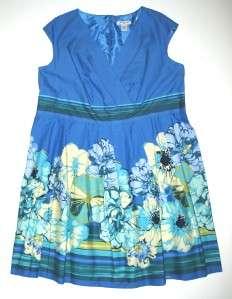 NWT Blue LIZ CLAIBORNE Woman Pleated Floral Sleeveless Dress 24W