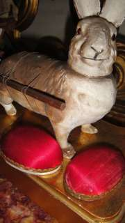 BUNNY RABBIT w CART EGG CANDY CONTAINER PAPER MACHE c1910
