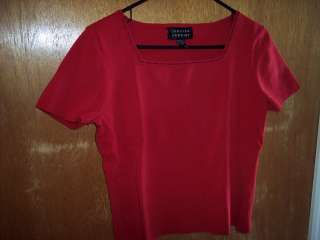 Spenser Jeremy XL silk blend RED Sweater womens shirt HOliday Apparel