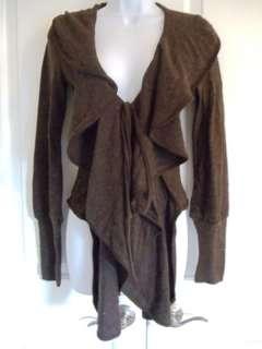 Boutique Cashmere Blend Ruffle Women Cardigan Sweater S M L XL
