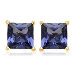 , September Birthstone, Created Ceylon Sapphire 5 mm Square Earrings